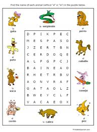 simple spanish vocabulary search a word puzzles printable