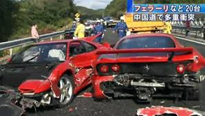 japanese street race cars ferrari street car racing in japan result in expensive crash accidents
