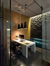 modern minimalist office design with high ceiling and hanging