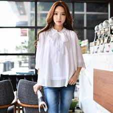 bow tie blouse plus size original 2017 brand blusas white plus size