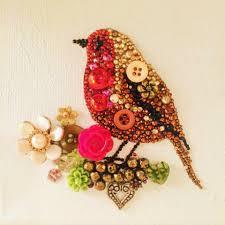 button art christmas robin beads and rhinestones button art
