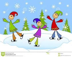 cartoonish kids ice skating on pond stock images image 3696854