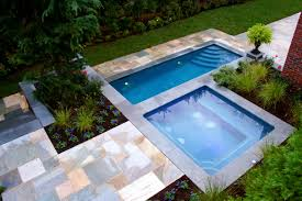simple design in ground pools ideas with square shape pool and