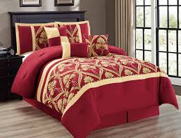 piece perris burgundy gold bed in a bag set