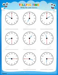 telling time worksheet write the time shown on the clock on