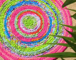 Small Round Braided Rugs Rag Rug Braided Crochet Lilly Pulitzer Inspired