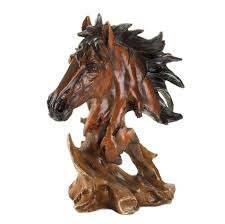 stallion head bust sculpture horse statue western rustic home
