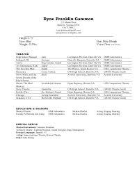 music resume musicians resume template theater resume