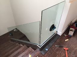 Stair Banister Installation Glass Stairway Railing Patriot Glass And Mirror San Diego Ca