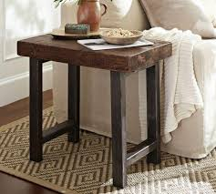 Reclaimed Wood Side Table Wood Top Iron Legs Side Table