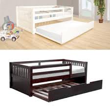 White Wood Daybed With Trundle Twin Bed With Slide Out Bed Ktactical Decoration