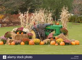 Halloween And Fall Decorations - fall decorations cover a tractor during halloween in vermont stock
