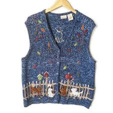 hanukkah vest puppies in fall leaves tacky sweater vest the