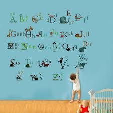 Alphabet Wall Decals For Nursery by Pvc Removable Wall Sticker Paper 26 Animals Design Alphabet Baby