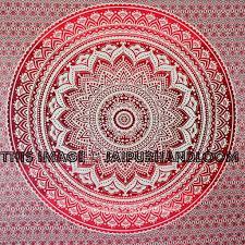 Wall Tapestry Hippie Bedroom Maroon Floral Ombre Mandala Wall Tapestry Hippie Beach Blanket Throw