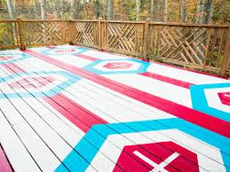 how to stencil a geometric pattern on a deck hgtv