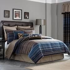Blue Striped Comforter Set Croscill Clairmont Chenille Jacquard Woven Stripe 4 Piece