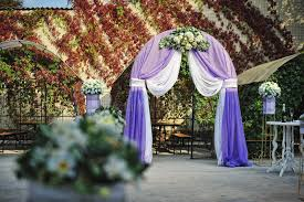 wedding arch leaves purple white wedding arch otdoor stock image image of marriage