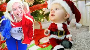 santa becomes a baby vs harley quinn and hoverboard cop frozen