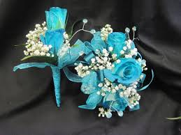 Prom Corsage And Boutonniere Fun Boutonnieres Teal Weddings And Blue Corsage