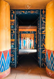 Ancient Egypt Interior Design Hieroglyphic Carvings And Paintings On The Interior Walls Of Stock