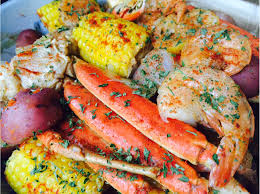 seafood boil jumbo shrimp crab legs sweet sausage corn on the