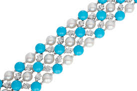 turquoise pearls bracelet images Bracelet fabulous flexible lace in turquoise pearls diamonds png