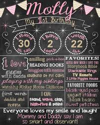1st birthday chalkboard pink and gold birthday chalkboard poster girl 1st
