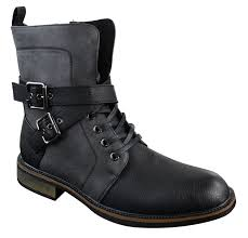 mens motorcycle ankle boots mens punk rock goth elmo biker ankle boots leather buckle fur