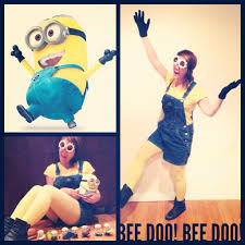 minion costume yellow shirt overall shorts yellow stockings