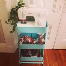 portable sewing station using raskog utility cart from ikea