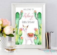 baby shower welcome sign cactus llama baby shower fiesta shower