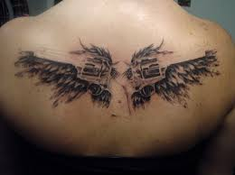 collection of 25 two wings angel tattoo on back