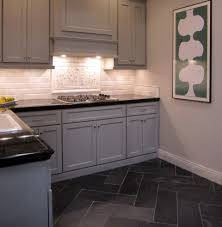 Herringbone Bathroom Floor by Carrara Marble Backsplash With A Herringbone Pattern Slate Tile In
