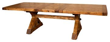 reclaimed trestle dining table various x base trestle dining table with extension 88 110 rustic in