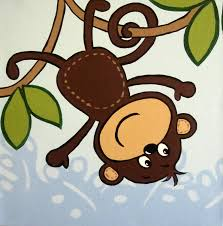 Mod Pod Pop Monkey Crib Bedding by One Hip Sticker Chic Girl Monkey 3 Panel Stretched Canvas