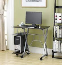 desks white polished metal movable computer desk with wheels and