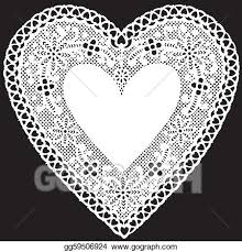 heart shaped doilies vector antique white lace doily heart eps clipart