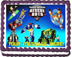 transformers rescue bots 1 edible cake or cupcake topper edible rescue bots cake topper etsy
