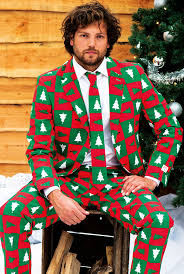 quirky line of suits inspired by ugly christmas sweaters
