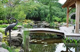 outdoors contemporary backyard with archer japanese bridge on