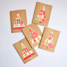 make a christmas card wrapping paper scrap christmas cards