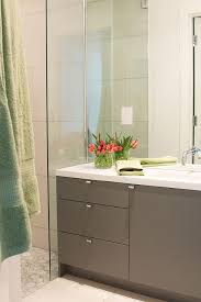 Flat Bathroom Mirrors Contemporary Bathroom Features A Height Mirror Lined With A