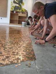 Bathroom Floor Pennies Tiles Made Out Of Pennies Can Make A Tile Wall Or Combine With