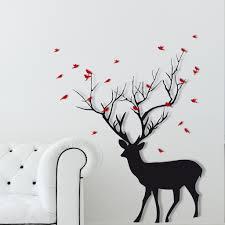 christmas deer with birds wall sticker kids houzz christmas deer with birds wall sticker