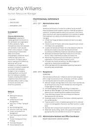 resume template administrative w experienced resumes hr cv exles and template