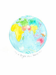 World Map Art Print by Children U0027s Map Print Globe Watercolour Planet Earth