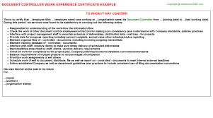 senior document controller work experience letters
