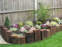 Railway Sleepers Garden Ideas Fence Edging Ideas Vertical Railway Sleepers Garden Fence Edging