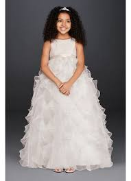 flower girl dresses organza flower girl dress with ruffled skirt david s bridal